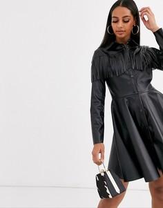 Платье-рубашка из искусственной кожи с длинными рукавами ASOS DESIGN-Черный