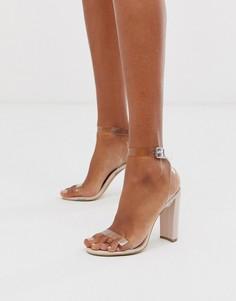 Босоножки на каблуке с прозрачными ремешками Qupid-Бежевый