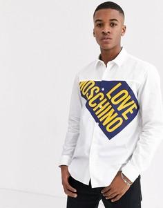 Рубашка с длинными рукавами и логотипом Love Moschino-Белый