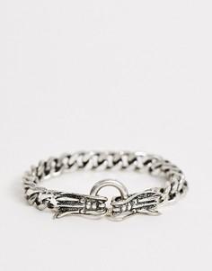 Серебристый браслет-цепочка с драконами Reclaimed Vintage inspired эксклюзивно для ASOS-Серебряный