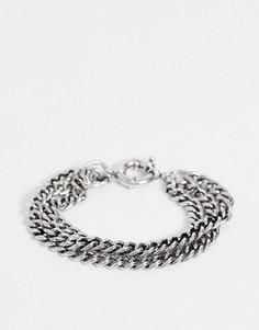 Серебристый браслет из цепочек в несколько рядов DesignB-Серебряный