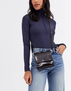 Лакированная маленькая сумка Weekday-Коричневый