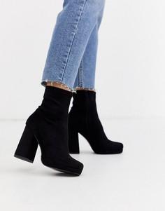 Черные ботинки на каблуке и платформе River Island-Черный
