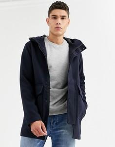 Темно-синее пальто с капюшоном Jack & Jones-Темно-синий
