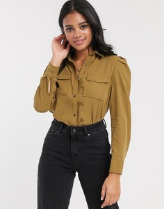 Рубашка цвета хаки в стиле милитари Pimkie-Бежевый