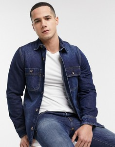 Синяя джинсовая куртка-рубашка Esprit-Синий