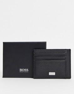 Черная кожаная визитница с логотипом BOSS-Черный