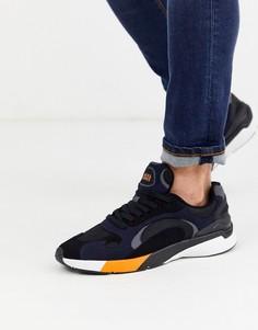 Темно-синие кроссовки для бега с контрастной вставкой Jack & Jones-Темно-синий