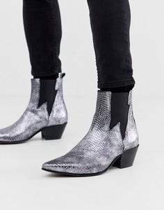 Серебристые ботинки челси на кубинском каблуке в стиле вестерн с эффектом змеиной кожи ASOS DESIGN-Серый