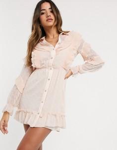 Нюдовое платье-рубашка мини с оборками River Island-Бежевый