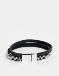 Черный кожаный браслет с серебристой молнией ASOS DESIGN