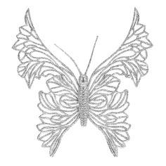 Koopman Елочное украшение Утонченная Бабочка 18 см серебряная, клипса CAA661210