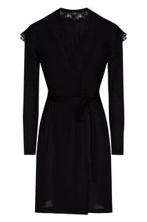 Черный трикотажный халат La Perla