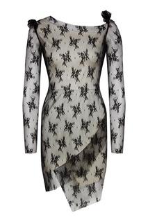 Двухслойное черно-белое платье мини Venera M.