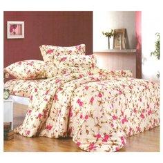 Постельное белье 1.5-спальное СайлиД A-107, поплин бежевый/розовый