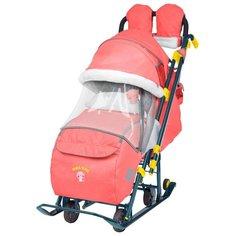 Санки-коляска Nika Ника детям 7-3 (НД 7-3) в джинсовом стиле (красный)