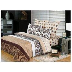 Постельное белье 1.5-спальное СайлиД B-118, сатин коричневый/белый