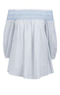 Хлопковая блуза в полоску с открытыми плечами Blue Seven