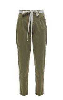 Хлопковые зауженные брюки цвета хаки Kocca