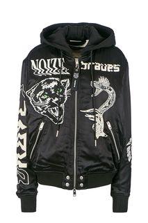 Черная куртка с вышивкой Diesel