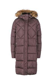 Удлиненная коричневая куртка с капюшоном Luhta