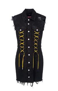 Черное джинсовое платье с рваным декором Diesel