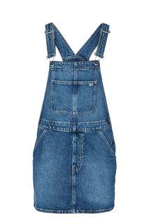 Синее джинсовое платье с регулируемыми лямками Tommy Jeans