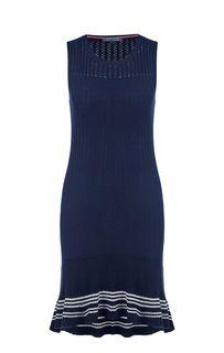 Синее вязаное платье из хлопка Tommy Hilfiger