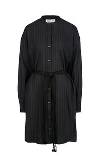 Черное хлопковое платье-рубашка с длинными рукавами Replay