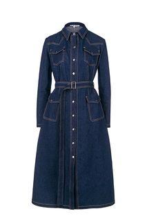 Синее джинсовое платье с поясом Erma