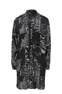 Платье-рубашка оверсайз из вискозы с карманами Diesel
