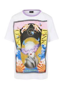 Хлопковая футболка с ярким принтом Pinko