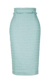 Голубая юбка-карандаш из ткани букле Self Made