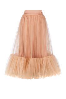 Бежевая расклешенная юбка с оборкой Alisia HIT