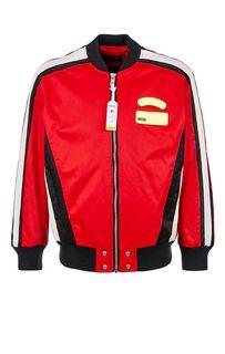 Красная куртка-бомбер с нашивками Diesel