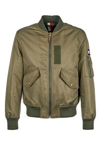 Куртка-бомбер цвета хаки с карманами Tommy Hilfiger