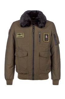 Куртка-бомбер цвета хаки с меховой отделкой Aeronautica Militare