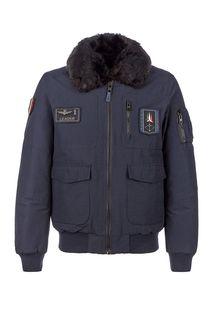 Куртка-бомбер синего цвета с меховой отделкой Aeronautica Militare