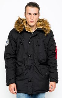 Черная куртка с капюшоном и семью карманами Alpha Industries