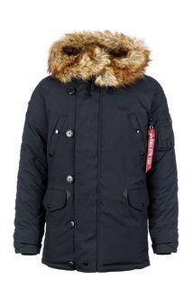 Черная куртка на молнии и пуговицах Alpha Industries