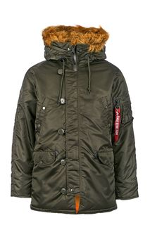 Серая куртка с карманами и капюшоном Alpha Industries