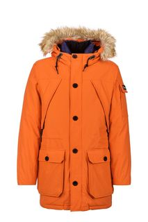 Оранжевая парка-пуховик на молнии и пуговицах Penfield