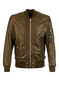 Кожаная куртка-бомбер цвета хаки Diesel