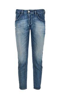 Зауженные синие джинсы с декоративными потертостями D-Bazer Diesel