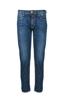 Синие зауженные джинсы с заломами Rob Replay