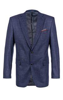Синий пиджак в клетку из шерсти Laconi
