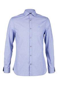 Синяя хлопковая рубашка приталенного кроя Guess