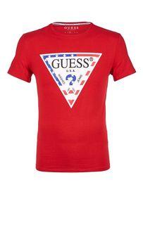 Красная хлопковая футболка с принтом Guess