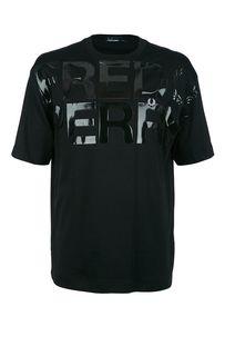 Черная хлопковая футболка с короткими рукавами Fred Perry