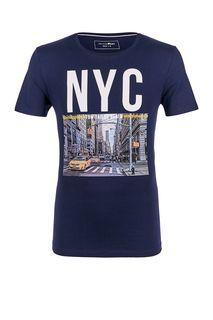 Синяя хлопковая футболка с короткими рукавами Tom Tailor Denim
